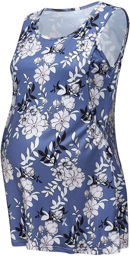 Iusun Womens Maternity Tops Floral O-Neck Layering Plus Size T-Shirt Mom Nursing Sleeveless Breastfeeding Pregnants Summer Cloth