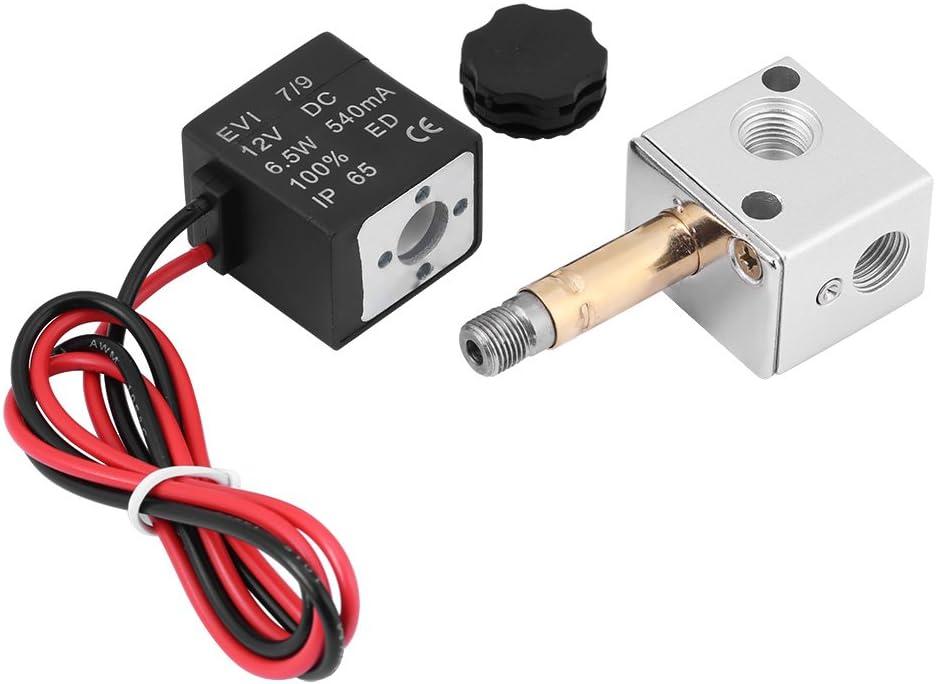 1//8/Zoll BSP elektromagnetische Luft Ventil 06/DC 12/V//24/V- Luft-Magnetventil Ventil 3-fach 2-position Normal Geschlossen 3/V1