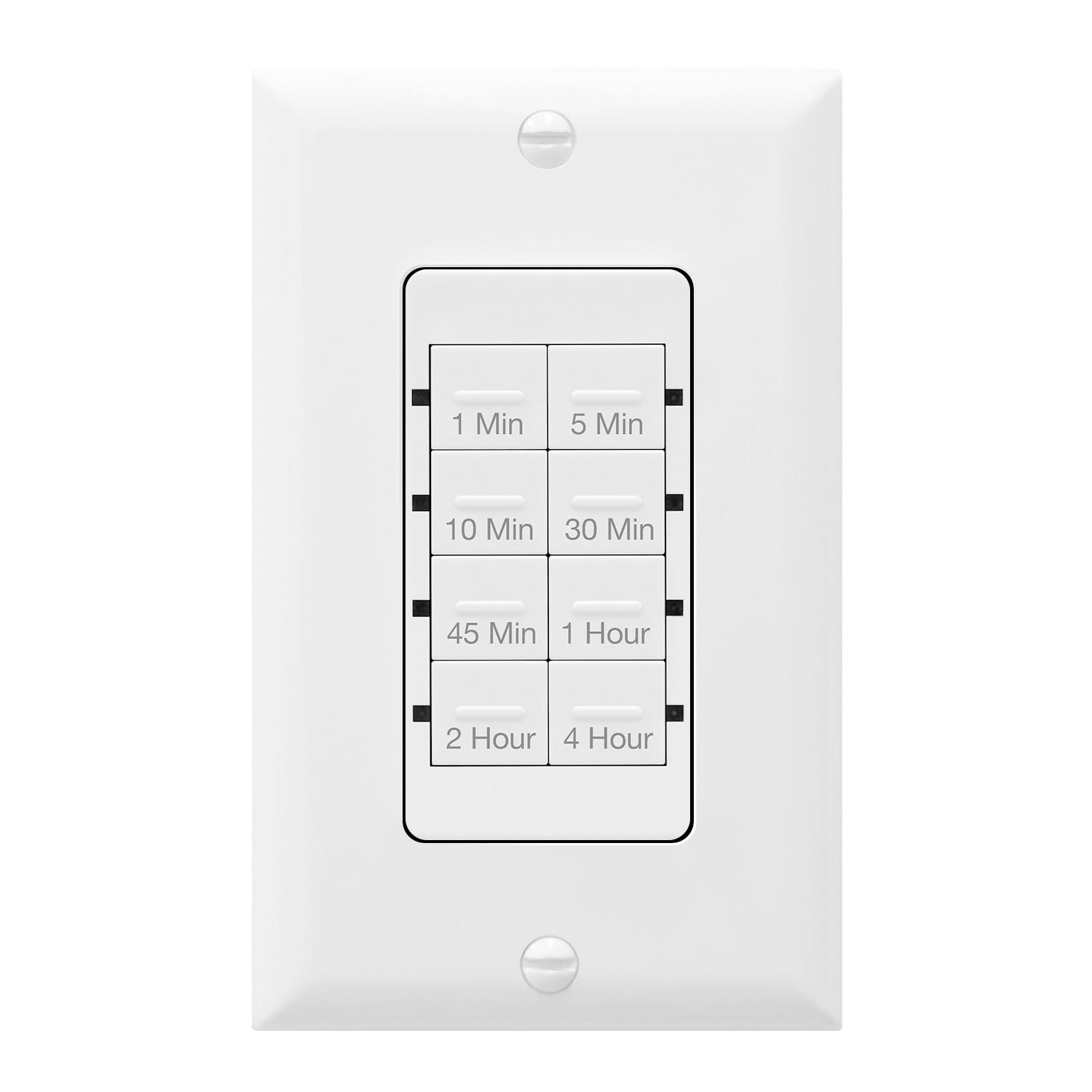 TOPGREENER Countdown Timer Switch, In-Wall Electrical Switch for Fans, Lights, Ventilation, 1-5-10-30-45 min, 1-2-4 hr, 600W LED, 1/2HP, Neutral Wire Required, Interchangeable Face Colors, TGT08-W
