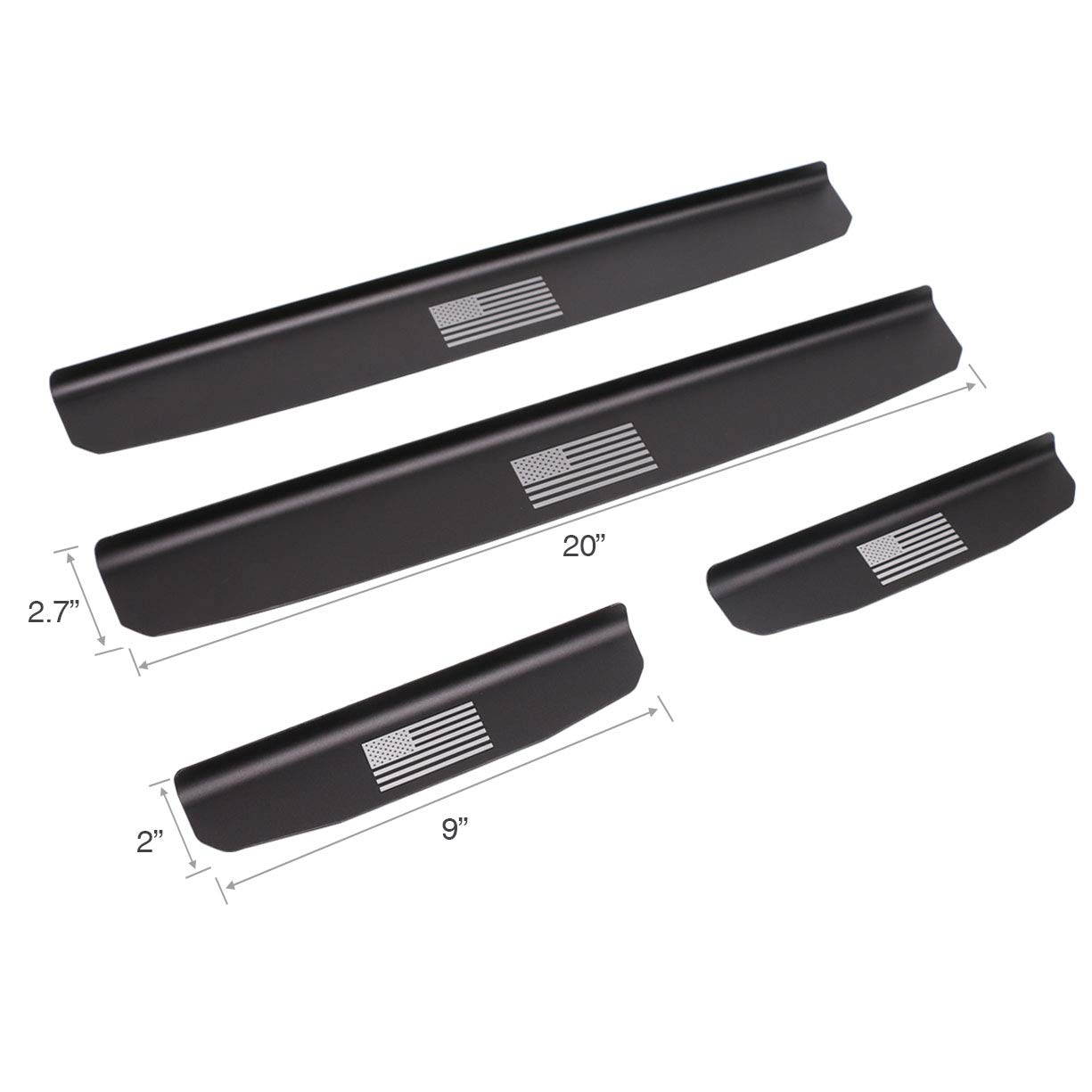 Silver 4Pcs VXAR Door Sill Protector Entry Guard Stainless Steel Scuff Plate for 2007-2017 Jeep Wrangler JK