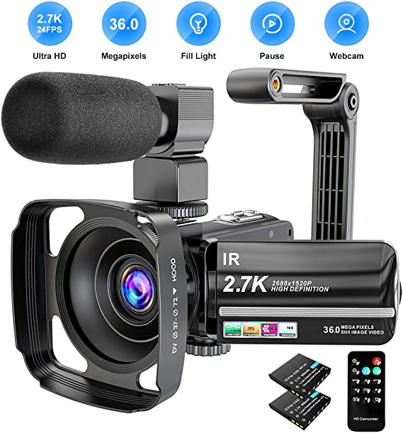 Video Camera Camcorder 2.7K Ultra HD YouTube Vlogging Camera 36MP IR Night Vision Digital Camera Recorder 16X Digital Zoom 3 inch IPS Touch Screen Video Camcorder with Microphone Handheld Stabilizer