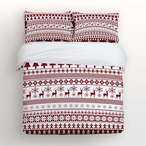 Libaoge 4 Piece Bed Sheets Set, Christmas Theme Bohemian Stripe Christmas Snowmans Trees Reindeers Snowflake Gingerbread Print, 1 Flat Sheet 1 Duvet Cover and 2 Pillow Cases by Libaoge