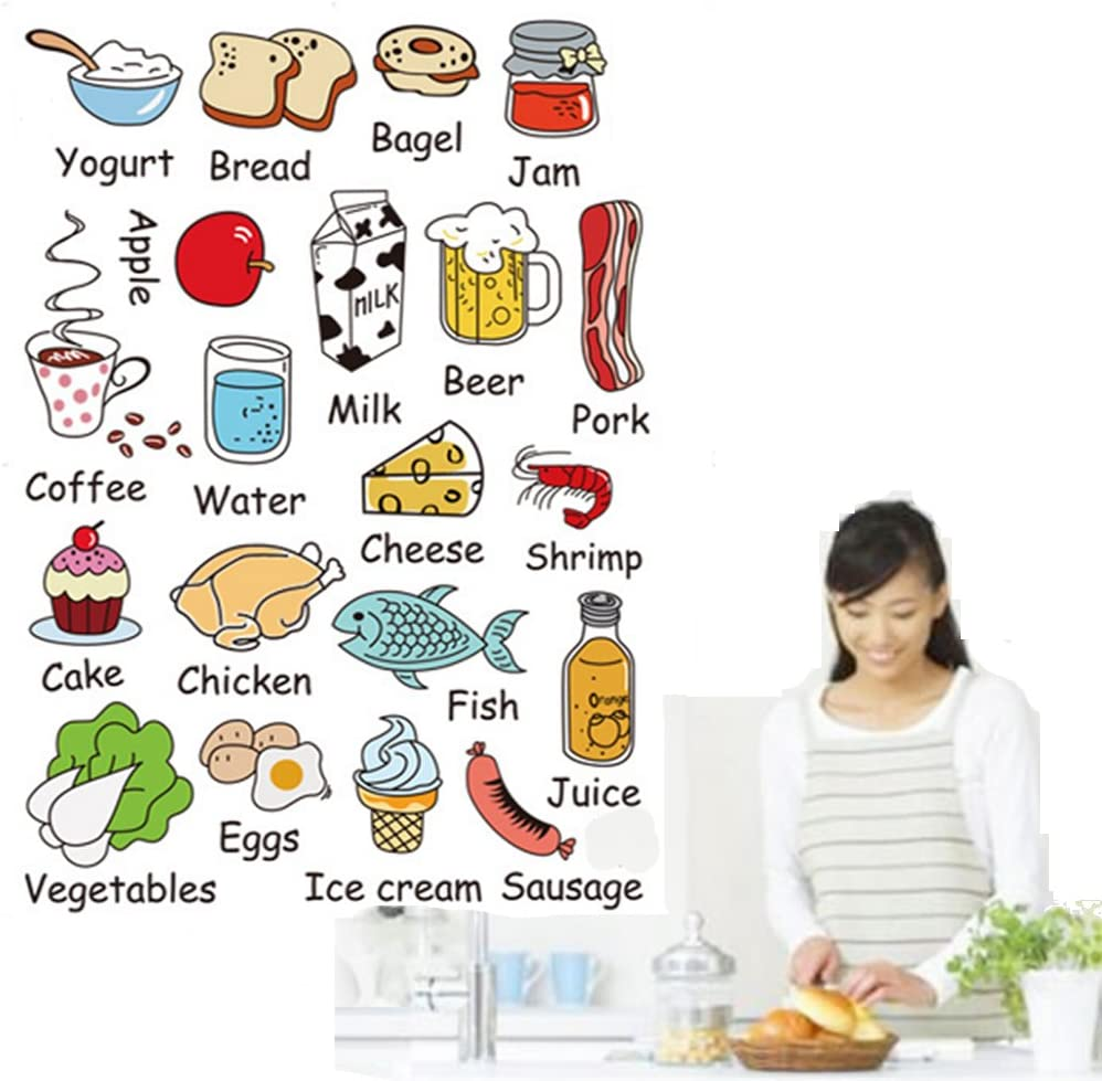 Ideemoor Kids Educational Kitchen Stickers Nursery Decor Decals Playroom Wall Art Decorations Pack of 20 Colorful Food with Labels