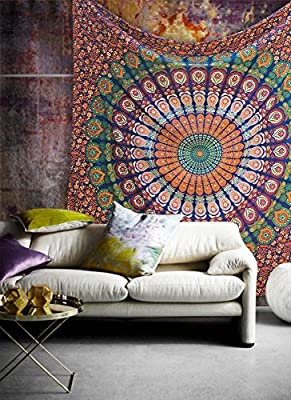 Popular Handicrafts Hippie Mandala Bohemian Psychedelic Intricate Floral Design Indian Bedspread Magical Thinking Tapestry
