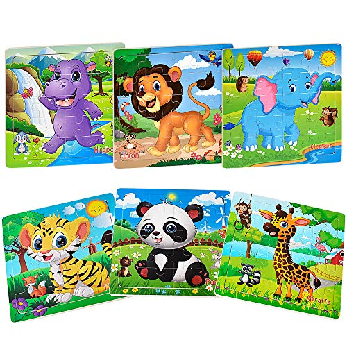 Puzzles for Kids Ages 3-5 Toddler Puzzles Set 20 Piece Wooden Jigsaw Puzzles (6 Puzzles)