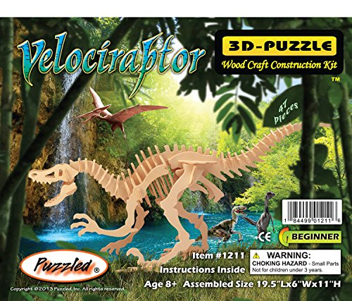 (Puzzled 1211 Velociraptor Dinosaur 3D Woodcraft Construction Kit)
