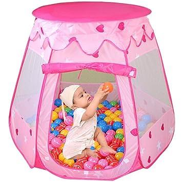 Parque de Bolas Niña Princesa Infantil, Plegable Piscina de Bolas Para Casa, Armabla Casa