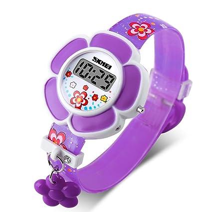 Skmei reloj Digital de los niños niña Cute Lovely Cartoon impresión flor colgante con diseño de