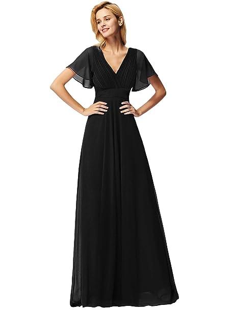 a1a530d2fceda Ever Pretty Women s Double V-Neck Short Flutter Sleeves Empire Waist ...
