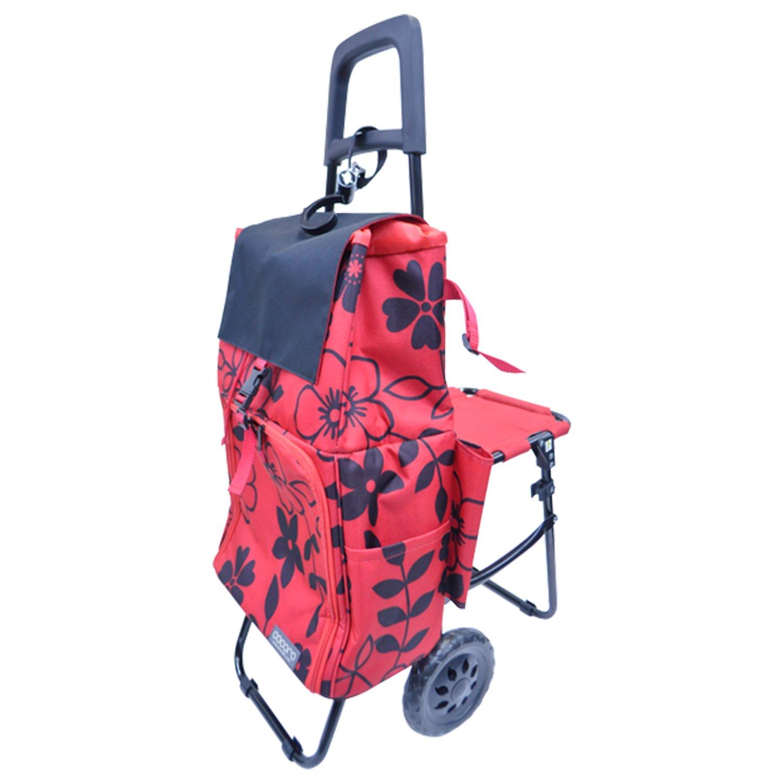 レップ COCORO(ココロ) ショッピングカート チェア付き 折りたたみ (保冷保温機能) バッグ2層式 レッド 5790 RE B06ZYW7VXB レッド レッド