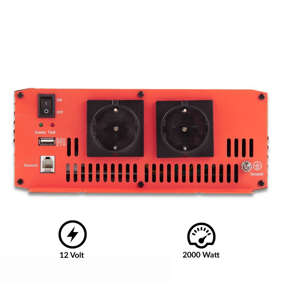 ECTIVE Serie SI caz | Inversor de onda sinusoidal 12V a 230V | 2000W | Los transformadores de tensión, transformadores de corriente, convertidor de energía, ...