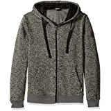 Southpole Men's Hooded Full Zip Fleece Basic, Marled Grey, X-Large
