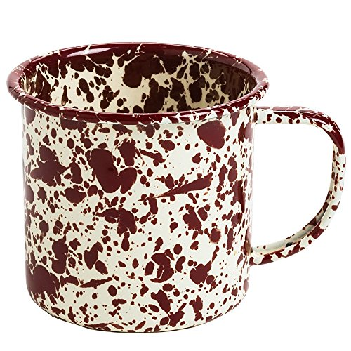 Enamelware Coffee Mug - Burgundy/Cream Marble