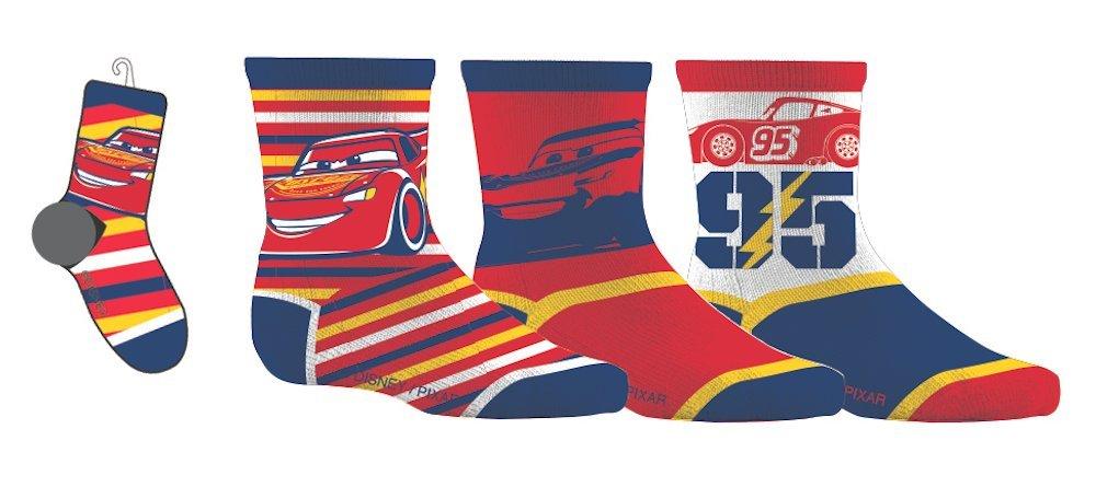 Disney Cars Children's Sport Socks 3 Pairs 12-24 Months Shoe Size 5-8 Gertex