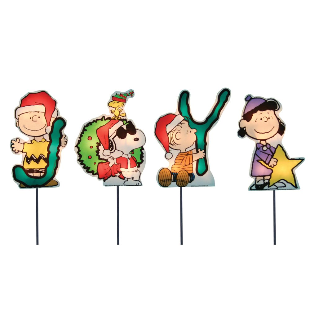 ProductWorks 8-inch Pre-Lit Peanuts Joy Christmas Pathway Markers (Set of 4)