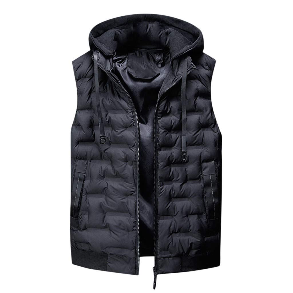 VEZARON Men's Winter Puffer Vest Removable Hood Warm Sleeveless Jacket Gilet with Pockets L-3XL by VEZARON