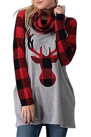 ZHRUI Sudaderas de Navidad para Mujer Plaid Elk Cowl Neck Pullover Tops (Color : Rojo, tamaño : Small): Amazon.es: Hogar