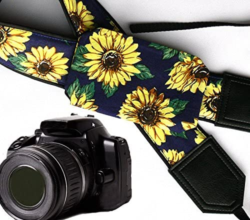 Sunflowers Camera Strap with Sun Glint Floral Camera Strap 00352 Yellow Blooms Camera Strap one Side is Lighter Camera Accessories