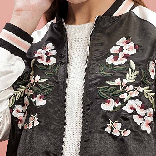 Viport Womens Floral Phoenix Embroidered Reversible Bomber Jacket Black Red