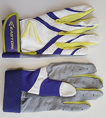 1 pr Easton Synergy II Womens Small Softball Batting Gloves White/ Purple/ - Batting Softball Fastpitch Glove