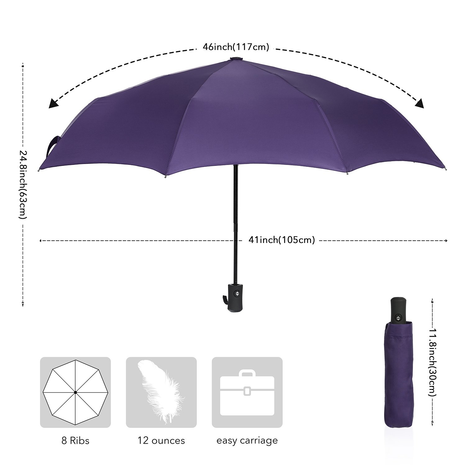 QHUMO Compact Travel Umbrella Windproof, Auto Open Close Umbrellas for Women Men by QHUMO (Image #5)