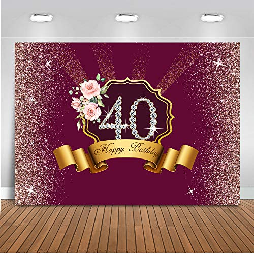 Mocsicka 40th Happy Birthday Theme Backgdrop Flower Background 8X6ft Vinyl Photography Background Birthday Party Backdrops Studio Photo Props ()