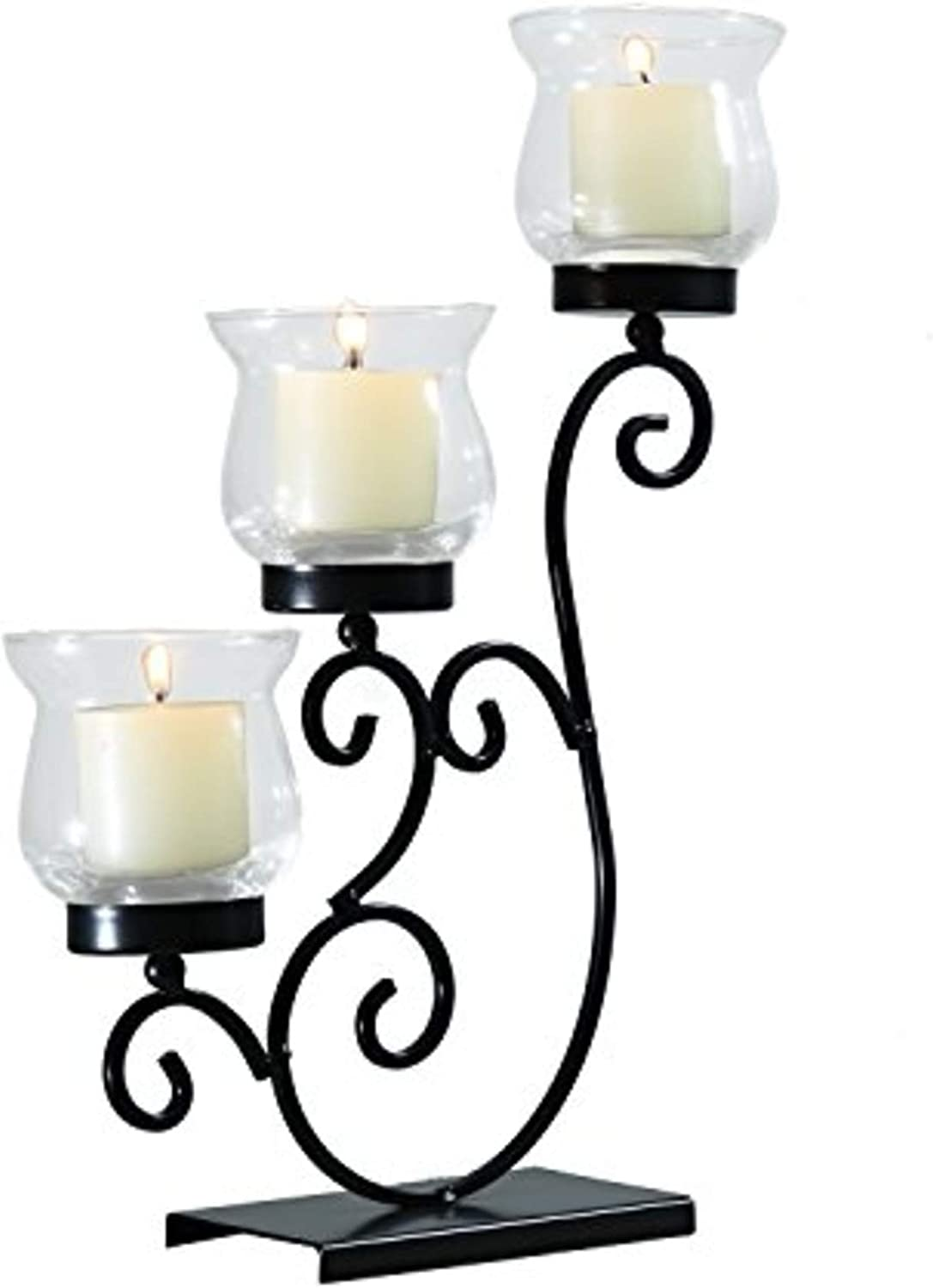 ELEGAN Decorative Metal Vertical Standing with Tealight Pillar Glass Candle Holder for Home Decor Set of 2