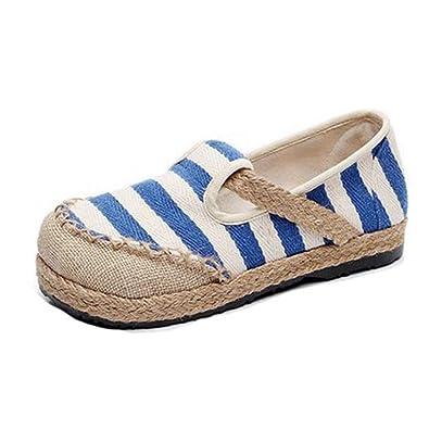 Frauen es Loafer Flat Heels exotischen Streifen Slip-on Round Toe Leinenkleid Casual Loafers Oxford Schuhe
