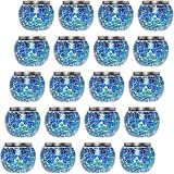 GreenLighting 20 Pack Mosaic Solar Light - Decorative LED Outdoor Garden Table Ball Light (Blue)