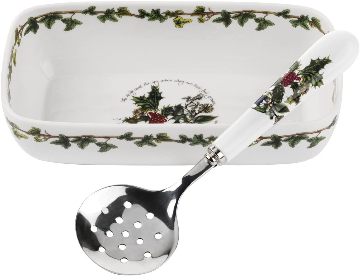 Portmeirion Home & Gifts Cranberry Dish & Slotted Spoon, Ceramic, Multi-Colour, 11.4 x 20.5 x 5.5 cm