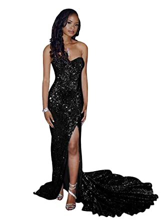 654f4b6e11 Dressytailor Mermaid Sweetheart Off The Shoulder Long Sequin Prom Dress  Evening Gown with Slit Black