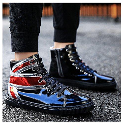 Scurtain Hombres High Top Skateboard Zapatos Casual Retro Bling Tobillo Moda Zapatos Para Caminar Negro