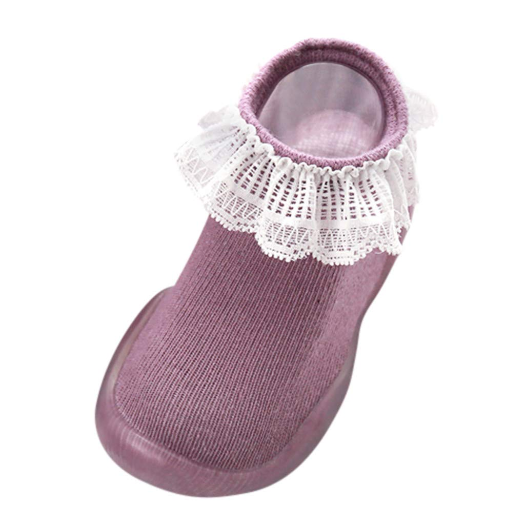 Toddler Baby Rubber Sole Ankle Sock Double Ruffle Lace Trim Floor Sock Non-slip Princess Shoes Gift (12-24Months, Purple) by sweetnice baby socks