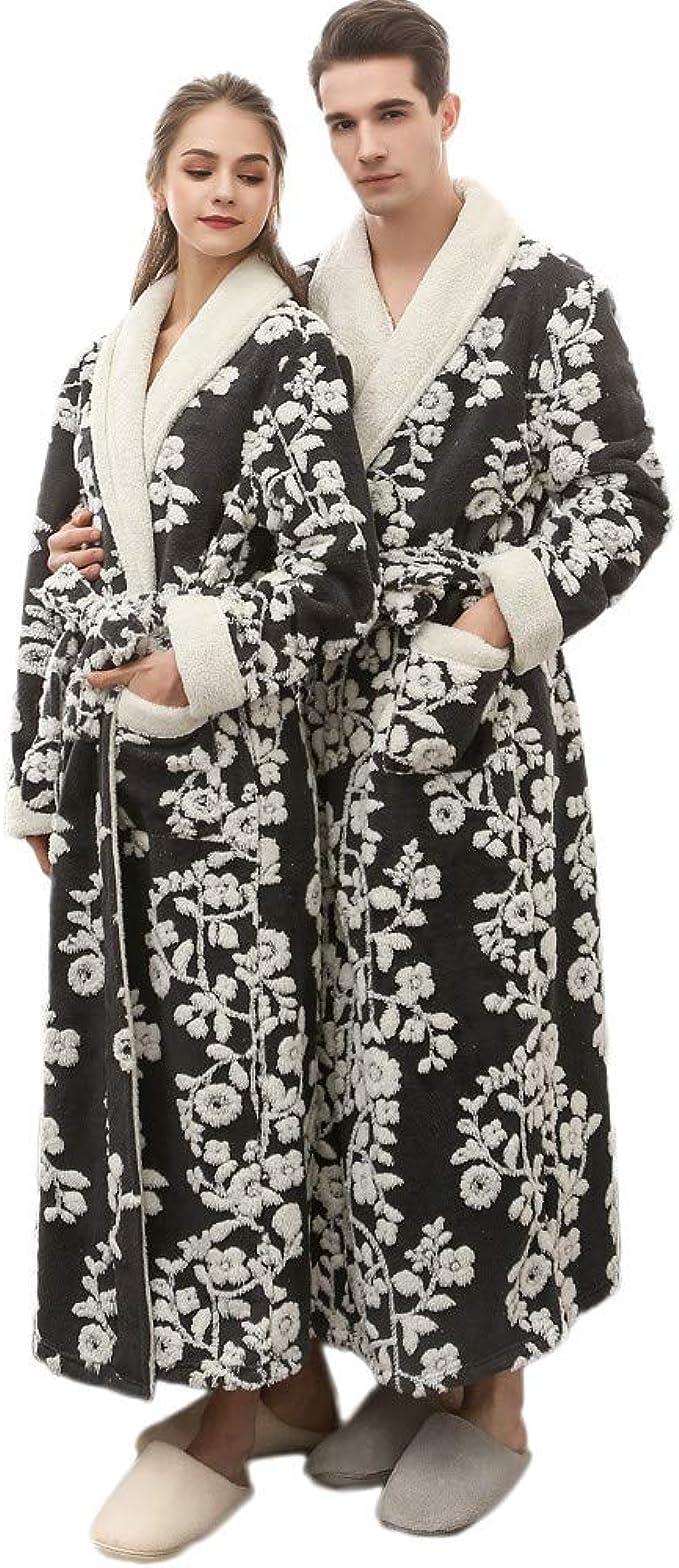 Yvelands Peignoir Femme/&Homme//Couple Absorption deau Confortable /ÉPissage Couleur Pyjamas Salle De Bain Deux Poches Ceinture /ÉPissage Couleur Manches Longues 4 Couleurs 3 Tailles