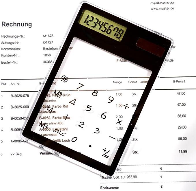 zuf/ällige Farbauswahl mit Touchscreen Solar-Taschenrechner transparent