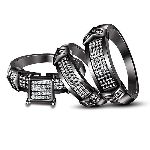 Moda Vorra su y su piedra blanca y negro 925 rodio plateado de plata conjunto trío