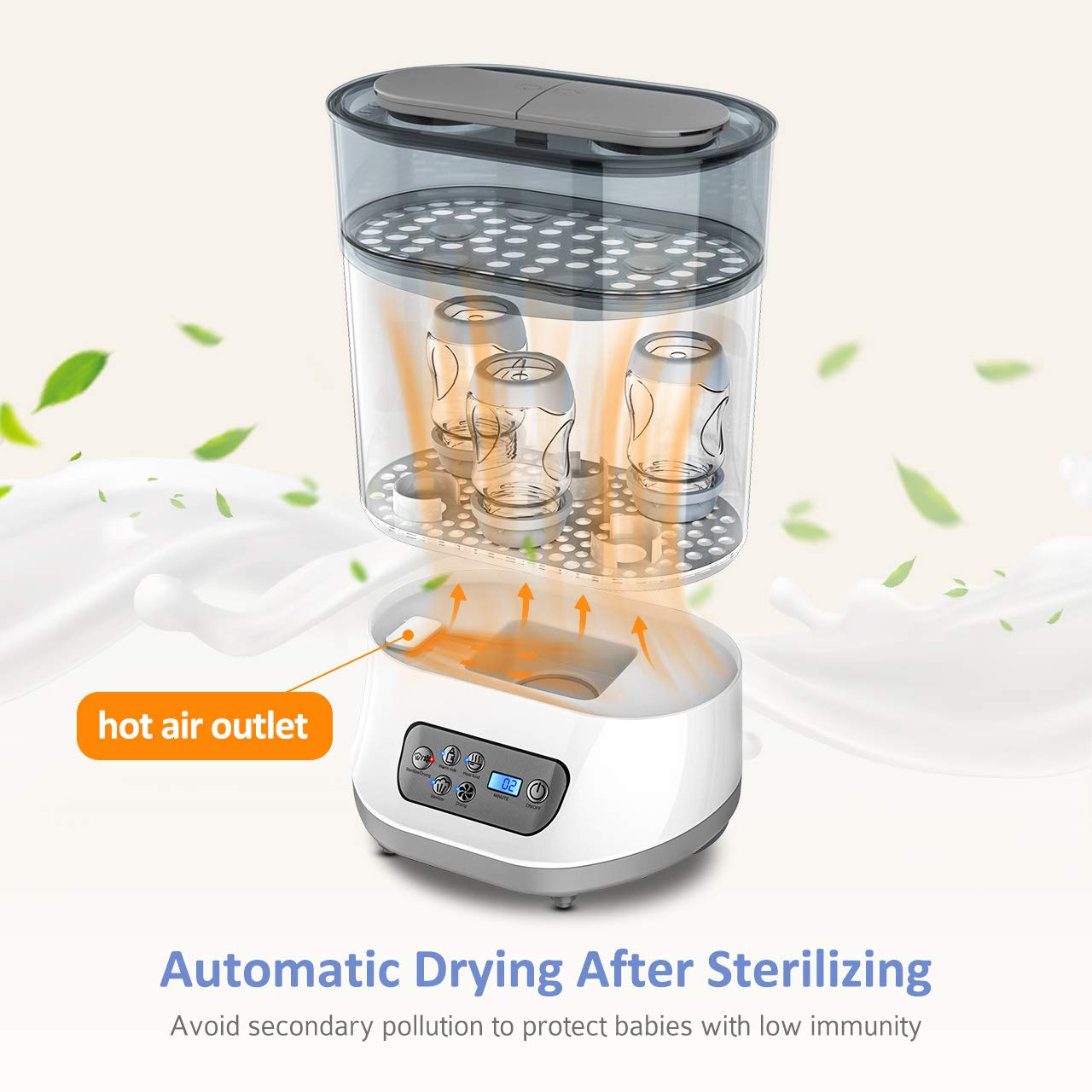 OMORC 550W Bottle Sterilizer and Dryer for Baby, 5-in-1 Multifunctional Electric Steam Sterilizer with Auto Power-off, Digital LCD Display for Sterilizing, Drying, Warming Milk, Heating Food by OMORC (Image #5)