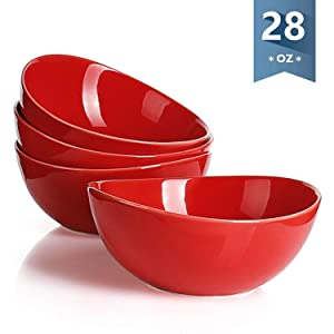 Sweese 1139 Porcelain Bowls - Set of 4-28 Ounce for Cereal, Salad and Desserts, Red
