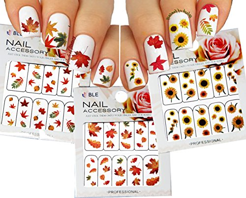 Autumn Leaves Nail Art Water Slide Tattoo Sticker:::Crimson Leaves And Flowers: Maple / Rowan / Hawthorn / Sunflower- 3 Pack ()