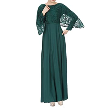 Muslim Evening Dresses for Women Plus Size,Women Dress of Long Sleeves Pure  Color Chiffon Print Lace Vintage Maxi Dress (Green#1, XL)
