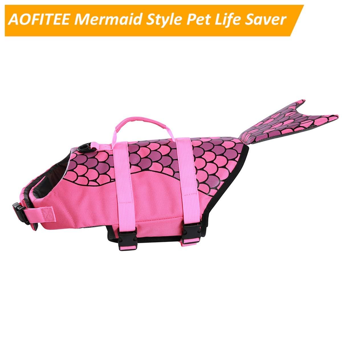 Adjustable Dog Lifesaver Ripstop Pet Life Preserver with Rescue Handle for Small Medium and Large Dogs AOFITEE Dog Life Jacket Pet Safety Vest 5 Sizes