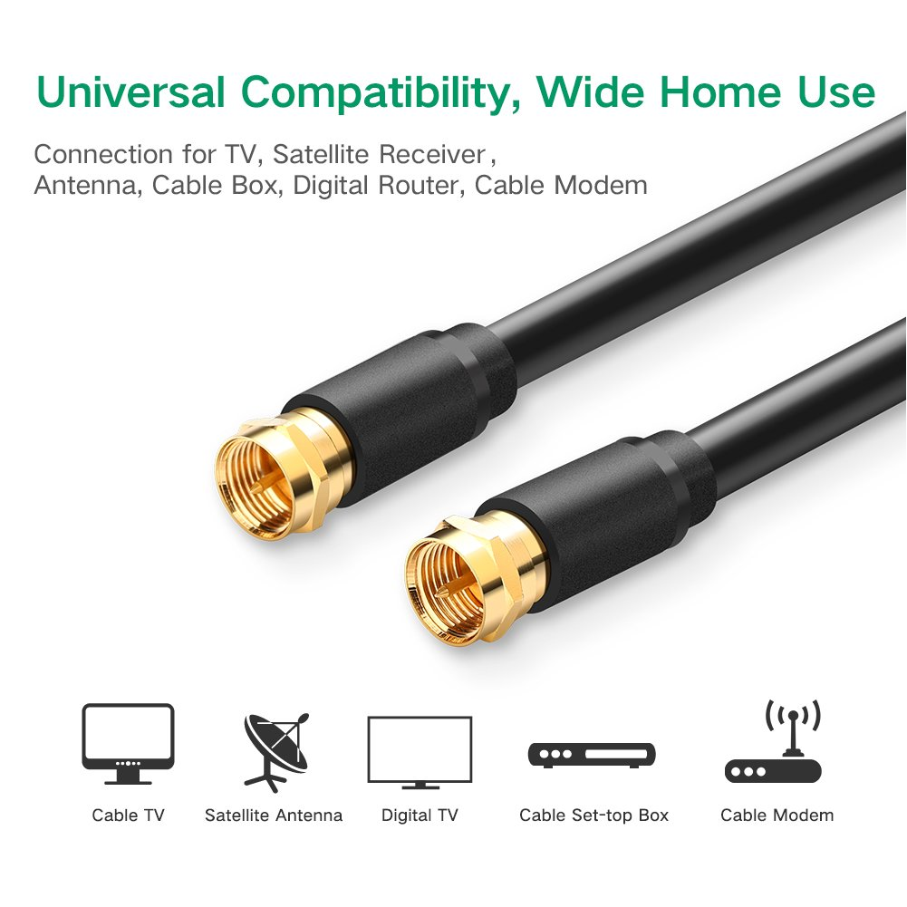 Amazon.com: UGREEN TV Aerial Coaxial Patch Cable with F-Male Connector for Satellite TV, Cable Modem, Set-top Box Gold Plated 3 Pack: Home Audio & Theater