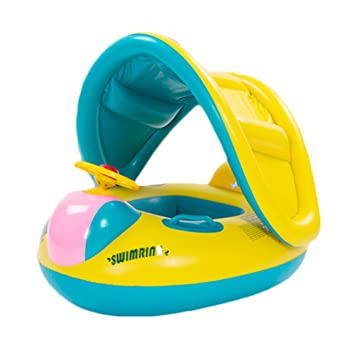 Lovely Baby inflable nadar sentarse de la persiana círculo flotador flotador natación parasol: Amazon.es: Deportes y aire libre