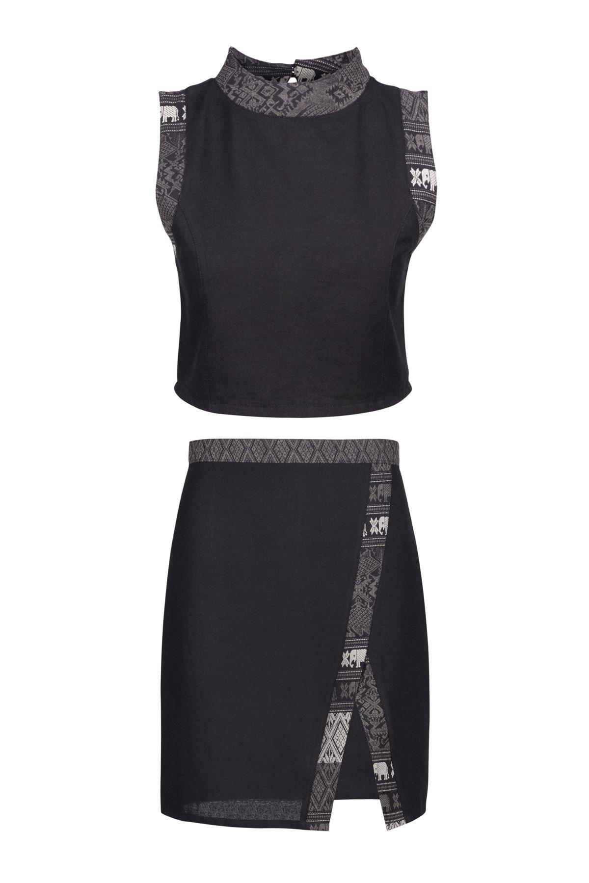 Lofbaz Women's Thai Cotton Top and Skirt Set Solid Black S