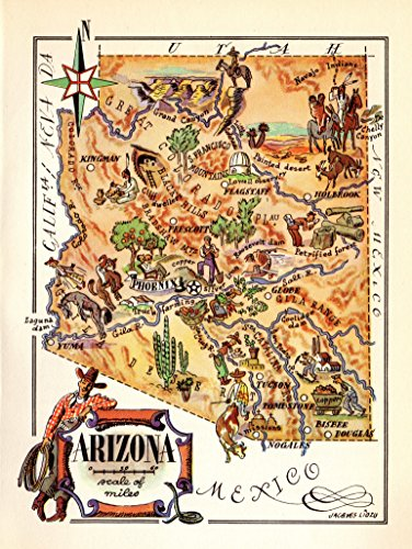 1940s Vintage Arizona State Map Animated Picture Map of Arizona Print Cowboys Indians Mining