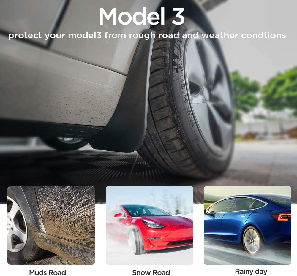 4Pcs Set MICTUNING Mud Flaps for Tesla Model 3 Front and Rear Splash Guards