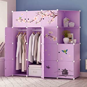 XHCP Wardrobe Armoire Closets for Bedroom, Portable Resin Armoire with Pattern Sticker Modular Cubby Shelving Unit for Hanging Clothes Purple-d L147×w47×h147cm(58x19x58inch