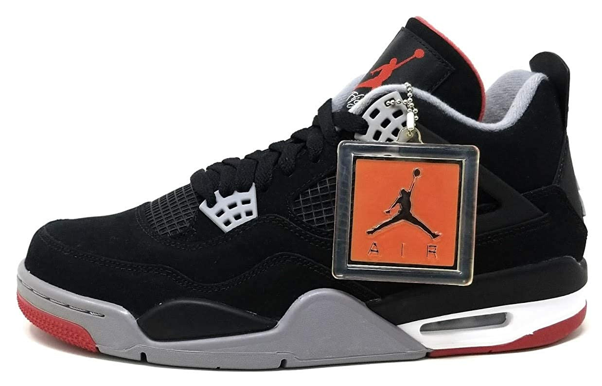 quality design db289 f48f6 Nike Mens Air Jordan 4 Retro Bred Black/Cement Grey-Fire Red Suede  Basketball Shoes Size 9