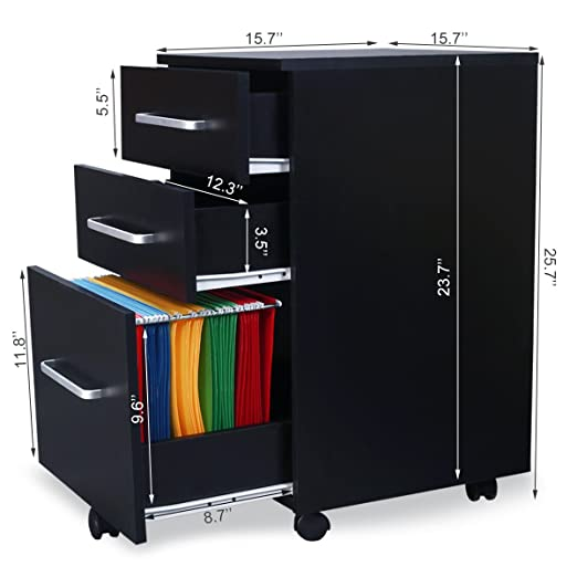 Amazon.com : DEVAISE 3 Drawer Wood Mobile File Cabinet / Letter Size, Black  : Office Products