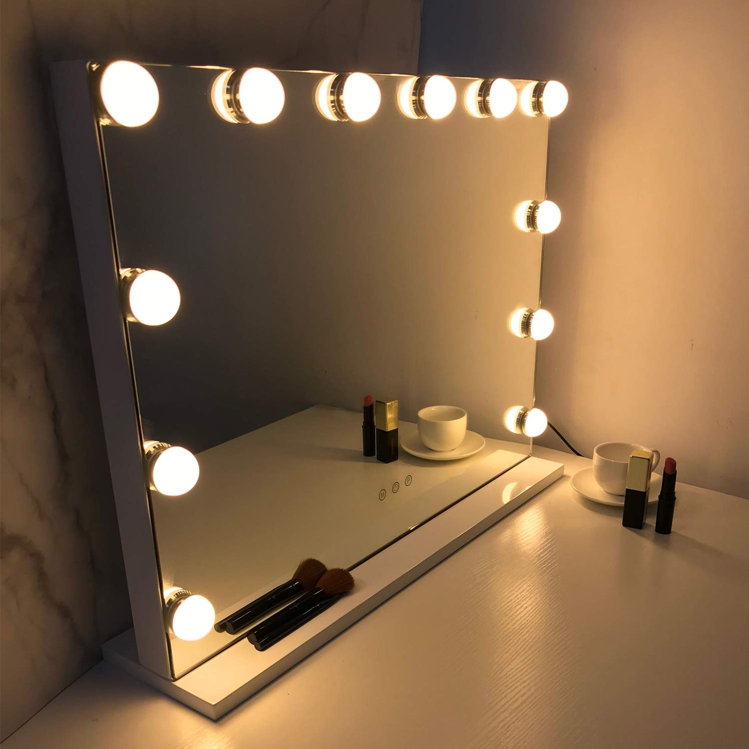 HOMPEN Makeup Vanity Mirror with lights, Hollywood Mirror with Dimmable LED Bulbs, Smart Touch Switch and USB Port